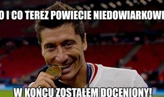 """Piłkarz Roku UEFA. """"Popatrz i Lewy to wygrał"""". Zobacz memy po wyborze Roberta Lewandowskiego"""