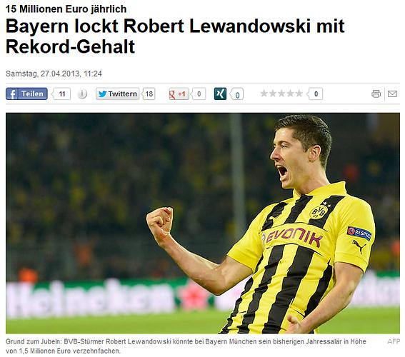 Według gazety Focus Bayern kusi Lewandowskiego gigantycznymi zarobkami