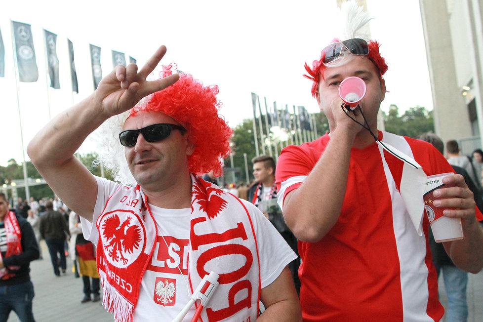 Kibice przed meczem Niemcy - Polska we Frankfurcie
