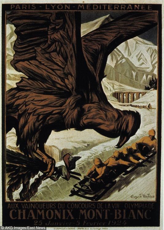Plakat zimowych igrzysk olimpijskich w Chamonix....