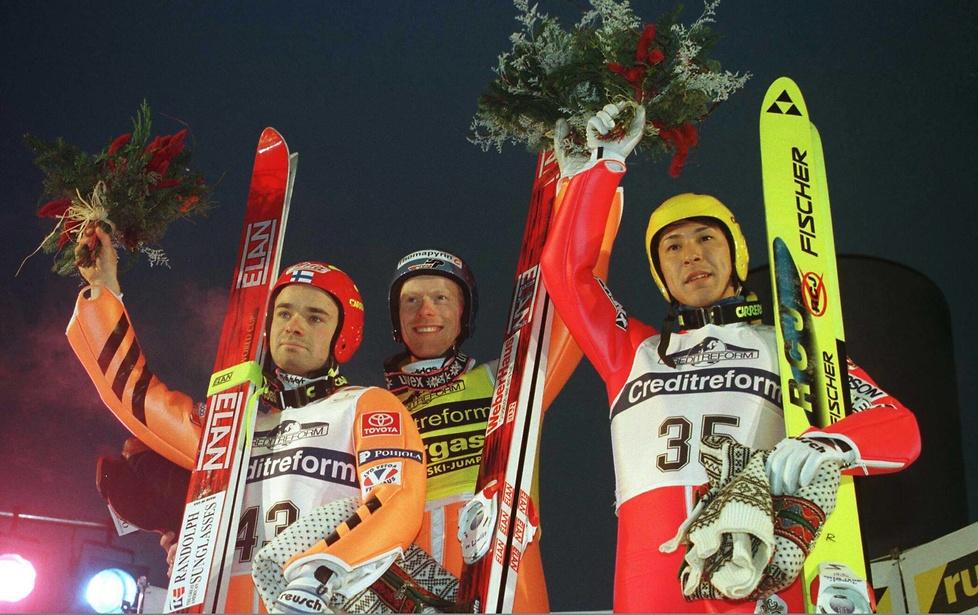 1997 rok - podium konkursu skoków o Puchar Świata w Lillehammer. Pierw...