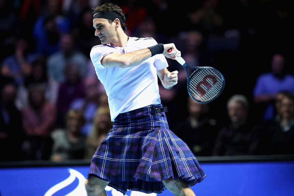 Roger Federer zachwycił kibiców. Zagrał w kilcie (galeria)
