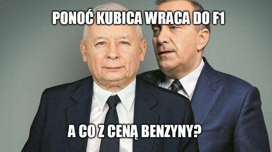 Premier Morawiecki, Schetyna, Robert Lewandowski. Memy po powrocie Kubicy do F1