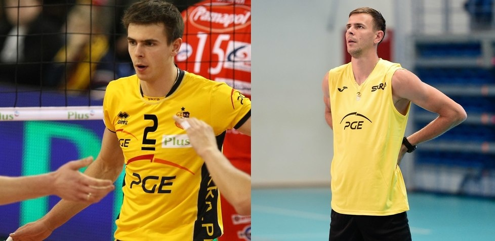 Mariusz Wlazły w barwach PGE Skry Bełchatów w 2009 (po lewej) i pod ko...