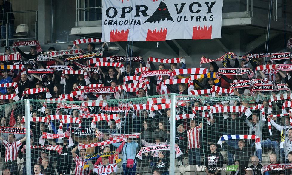Kibice podczas meczu Cracovia - Jagiellonia Białystok (galeria)