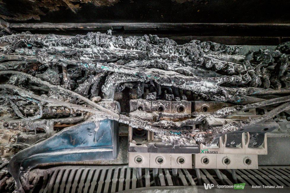Pożar rozdzielni elektrycznej na stadionie Stali Gorzów [GALERIA]